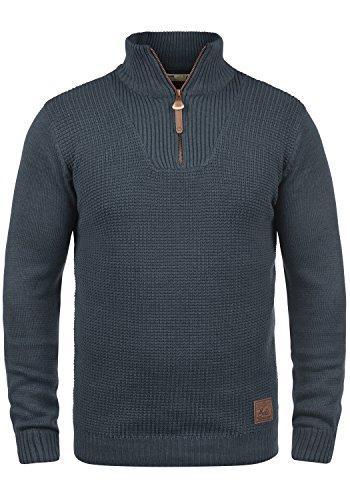 !Solid Tommy Herren Strickpullover Troyer Feinstrick Pullover Mit Stehkragen und Reißverschluss, Größe:L, Farbe:Insignia Blue Melange (8991)