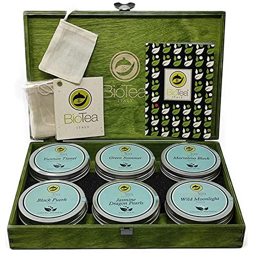 BioTea - Selezione di 6 Tè Pregiati sfusi in Lattina | Tè Tianzi - Puerh - Jasmine Dragon Pearls | Cofanetto in legno di betulla col. Verde per una preziosa idea regalo