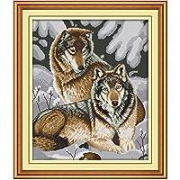刺繍キット ししゅうきっと クロスステッチ スノーウルフ45x54cm 初心者向け クロスステッチキット 刺しゅうセット き 刺繍糸 刺繍用布 刺繍工具