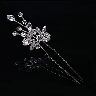 LUKEEXIN 2pcs Bridal Rhinestone Hairpin Headwear Hair Accessories Silver Leaf Wedding Dress Accessories (Color : Silver)