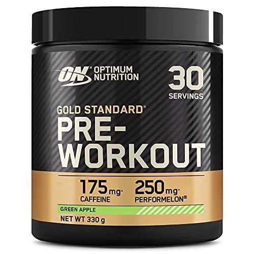 Optimum Nutrition Gold Standard Pre Workout en Polvo, Bebida Energética con Creatina Monohidratada, Beta Alanina, Cafeína y Vitamina B Complex, Manzana Verde, 30 Porciones, 330g, Embalaje Puede Variar