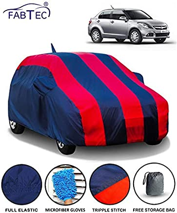 Fabtec Car Body Cover for Maruti Swift Dzire (2012-2016) with Mirror Antenna Pocket Storage Bag & Microfiber Glove Combo (Red & Blue)