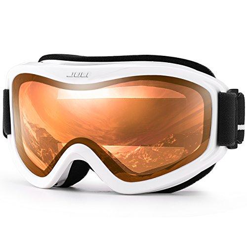 Juli Ski Goggle/Snow Snowboard Goggles for Men, Women & Youth - 100% UV Protection Anti-Fog Dual Lens(White Frame+35% VLT Citrus Orange Len)