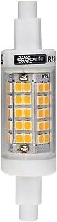 ECOBELLE® 1 x Bombilla LED R7S de Cerámica (para mejor refrigeración) 6W 750 Lúmenes, Color Blanco Cálido 3000K, 78 mm x 20 mm (Bombilla Super Slim y Corta), 360 grados, Flicker Free