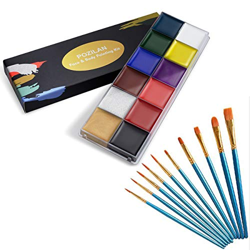 Rainbow Face Paint with Brushes, Professional Face Painting Kits for Kids Adults, Christmas Body Paint, Non Toxic Hypoallergenic Cosplay Makeup - 12 Colors Face Paint Set