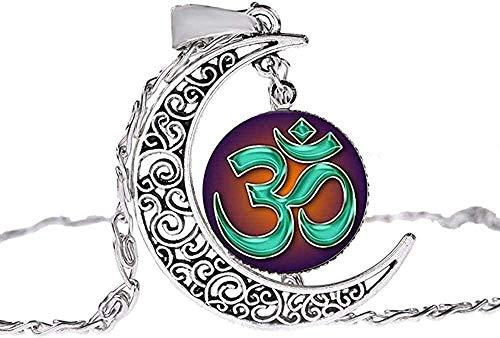 CAISHENY Collar de Hombre Musulmán Allah Ohm Hindú Budista AUM Om Símbolo Collar de Henna Flor Mandala Cristal Piedra Preciosa Hecha a Mano Hueco Luna Colgante Gargantilla