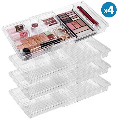 "MoMA Expandable Makeup Organizer - 11""x 7.7""x 1.2""Adjustable Makeup Brush Organizer (4 Packs) - Clear Plastic Makeup Organizer for Bathroom Drawers, Vanities, Countertops - Scalable Cosmetic Organizer"