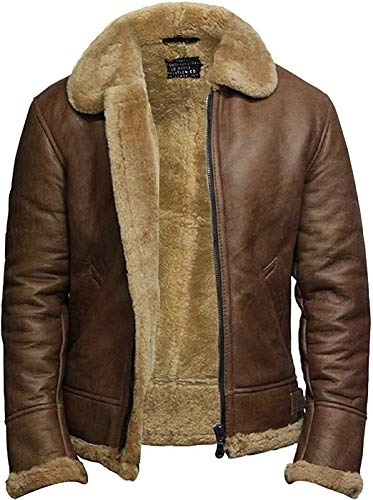 BRANDSLOCK Airforce Mens RAF Aviator Soft Shearling Sheepskin Leather Bomber Flying Jacket (L, Ginger)