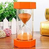 ieenay Reloj de arena con temporizador de 5/10/15/20/30 min, reloj de arena, reloj de arena, temporizador de cocina, regalo para niños, naranja, 20 minutos