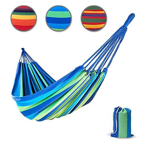 Hängematte FLAMENCO aus Baumwolle | extra starke Seile | für 2 Personen | Tragetasche GRATIS | 210x150 cm | Hautfreundliche Doppelhängematte | Tuch-Hängematte belastbar bis 200 kg (blau-grün)