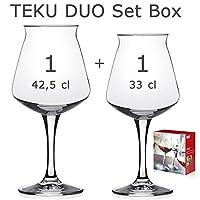 Set verres à dégustation bière artisanale Teku Rastal–1teku 42,5cl et 1teku mini 33cl–boîte cadeau 2pièces. - Boîte cadeau lithographiée–2verres universels pour dégustation bière–1teku 3.0(original) 42,5cl et 1mini teku 33cl–Par ...