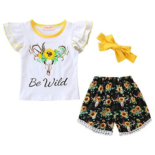 Save %29 Now! Yaseking Baby Girls Outfits Set, Cotton Ruffle Sleeve T-Shirts+ Beach Floral Shorts wi...