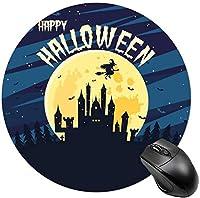 男性用の丸いマウスパッドかわいいマウスマットラップトップマウスパッド漫画ボストンテリアブルドッグ-月と空飛ぶ魔女の城