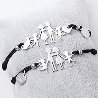 Bracciale famiglia family elastico con sagoma famiglia 1 BIMBA in acciaio inossidabile, regolabile. Handmade, realizzato a...