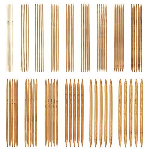 ZHENA 75 Pcs Kit Aiguilles à Tricoter en Bambou, Aiguille à Tricoter à Double Pointes 15 Tailles pour DIY