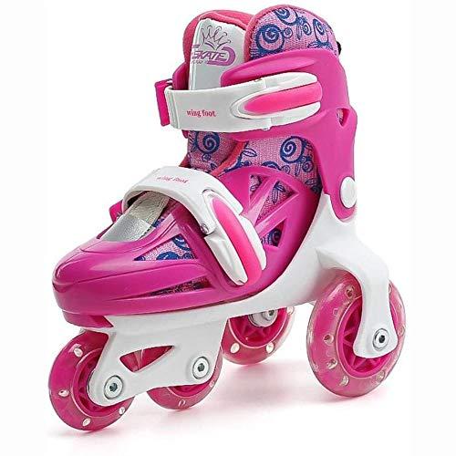 WEDSGTV Kinder Flash Skates Zweireihig, Verstellbare Größe Rollschuhe Quad Stiefel Skating,Pink-XS