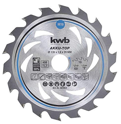 kwb 581954 Energy-Saving Kreissäge-Blatt Easy Cut, Ø 135 x 20 mm Dünn-Schnitt mit Spezial-Wechselzahn 18 Zähnen Z18, AKKU-TOP Dünnschnitt, 135 x 20