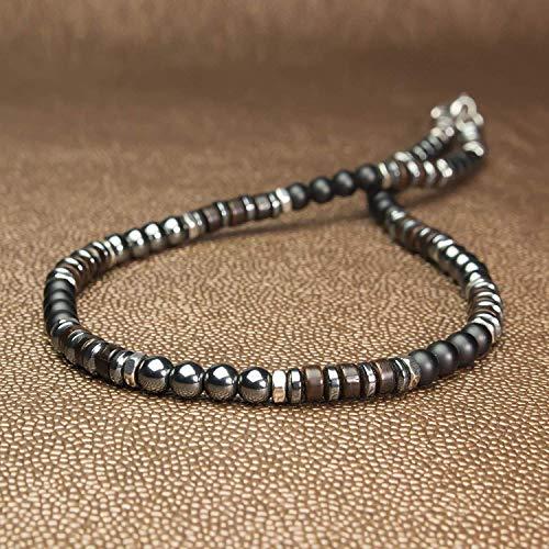 Collier Homme Taille 45cm perles Ø6mm pierre Naturelle Agate/Onyx noir mat hématite bois coco hématite métal inoxydable couleur argent style tibétaine COLLITNOR