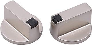 2 pièces boutons de cuisinière à gaz universels argentés Interrupteur de commande de la plaque de cuisson du four, 6MM 0 u...