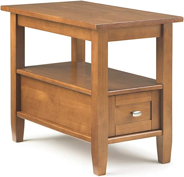 Simpli Home AXCWSH011 Warm Shaker Solid Wood 14 Inch Wide Rustic Narrow Side Table In Honey Brown