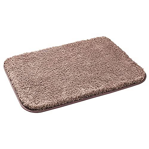 Alfombrilla de baño de pelo largo, antideslizante, lavable, sin sustancias nocivas, 80 x 50 cm, color marrón castaño