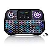 Mini Keyboard, Wireless Touchpad Keyboard, Portable Keyboard by GECENinov, 7 Colors RGB Backlit Keyboard, 2.4G Rechargeable Controller Mouse Combo, Compatible withPC, Laptops, Smart TVs.