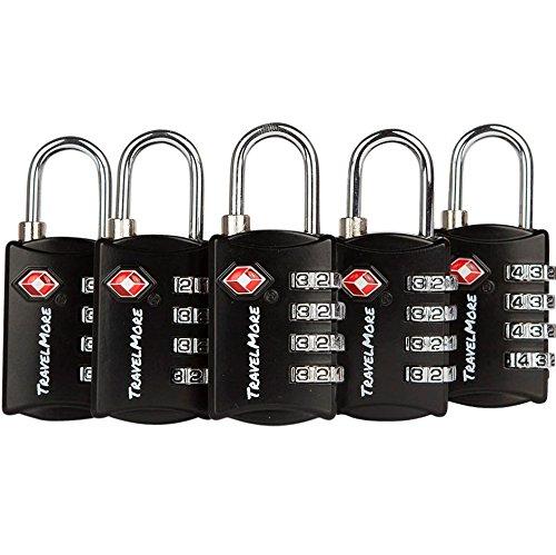 Paquete con 5 Candados para Equipaje TSA con Combinación de 4 Dígitos – Candado Resistente para Viajes, Equipajes, Maletas y Mochilas – Negro