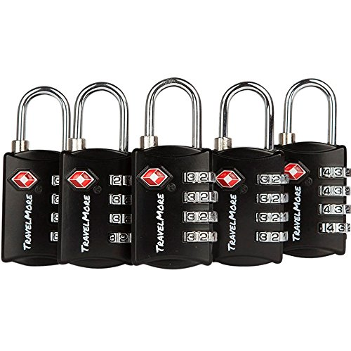 5 Pack TSA Luggage Locks with 4 Digit Combination – Heavy Duty Set Your Own Padlocks for Travel, Baggage, Suitcases & Backpacks - Black