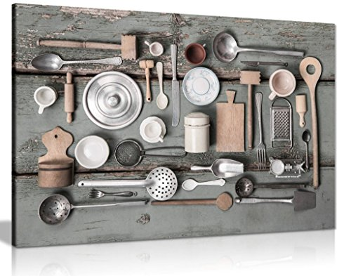 Rustic Art Vintage Kitchen Utensils Canvas Wall Art Picture Print (24x16in)