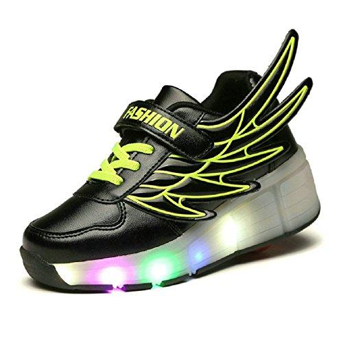 Williamsdd - Zapatillas de deporte con ruedas iluminadas para niños, diseño de alas, negro (Negro), 44.5 EU