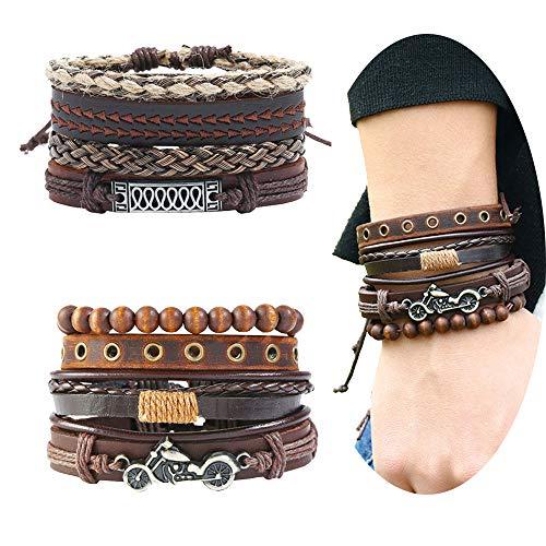 EVBEA 8PCS Mens Bracelets Braided Leather Wristband Punk Rope Bracelet Cuff Vintage Bracelets Wrap Set Adjustable Trendy Multilayer Bracelets for Boys