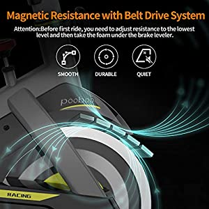 pooboo Magnetic Exercise Bikes Stationary Bike Belt Drive Indoor Cycling Bike Fitness Bike for Home Cardio Workout Bike Training with LCD Monitor …