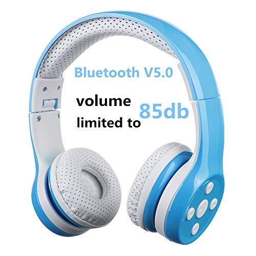 Bluetooth Kopfhörer Kinder, Hisonic Kinderkopfhörer mit Laustärkebegrenzung Verstellbare Leicht Tragbare Headset auch Mikrofon funktion. (Blau)