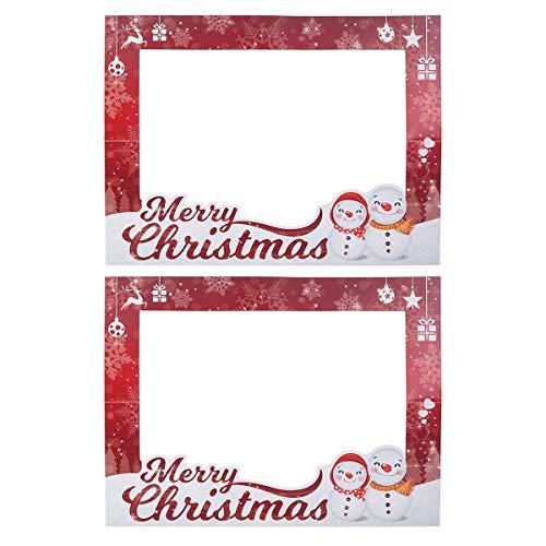 Amosfun 2PCS Cornice per Foto di Natale Cornice per Foto Selfie Fai da Te per Decorazioni Natalizie