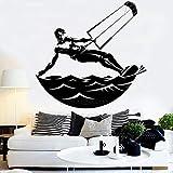 Calcomanía de pared de vinilo de surf de gran tamaño para niños Calcomanías de deportes acuáticos extremos Murales de diseño de arte Decoración del hogar Dormitorio Pegatina de pared fresca L69x67cm