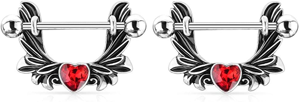 14G Stainless Steel Angel Wings with CZ Crystal Heart Center Dangle Nipple Rings, Sold as a Pair