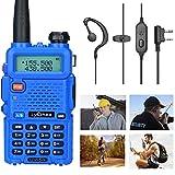 Lychee UV-5R Walkie Talkie FM Radio Profesional Doble Banda VHF&UHF Transceptor para Trabajo/Senderismo/Camping/Viajes (Azul)