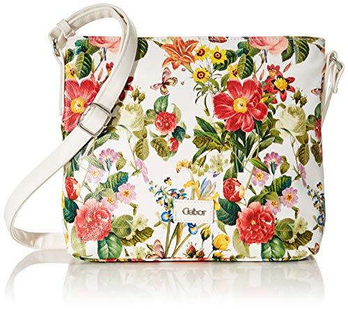 Gabor bags Umhängetasche Damen Granada Spring, Weiß (Blumenmuster), M, Handtasche, Gabor Tasche Damen