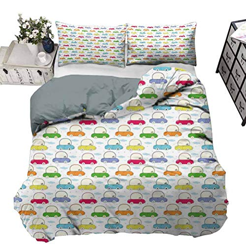 UNOSEKS LANZON Bedding Set Boyhood Dreams of Joyful Rides a Journey Above the Clouds with Colorful Cartoon Cars Premium Quilt Cover with Hidden Zipper Multicolor Queen - 230 x 230 CM