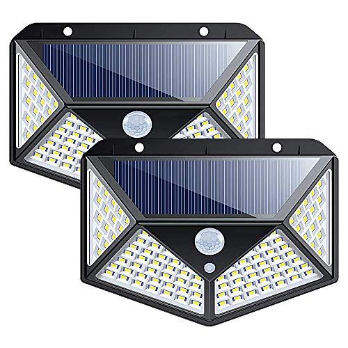 Myfei Solarlampen met bewegingssensor, 100 leds, helder licht buiten, eenvoudige installatie, groot veiligheidsherkenningsbereik, buitenverlichting, 2 verpakkingen