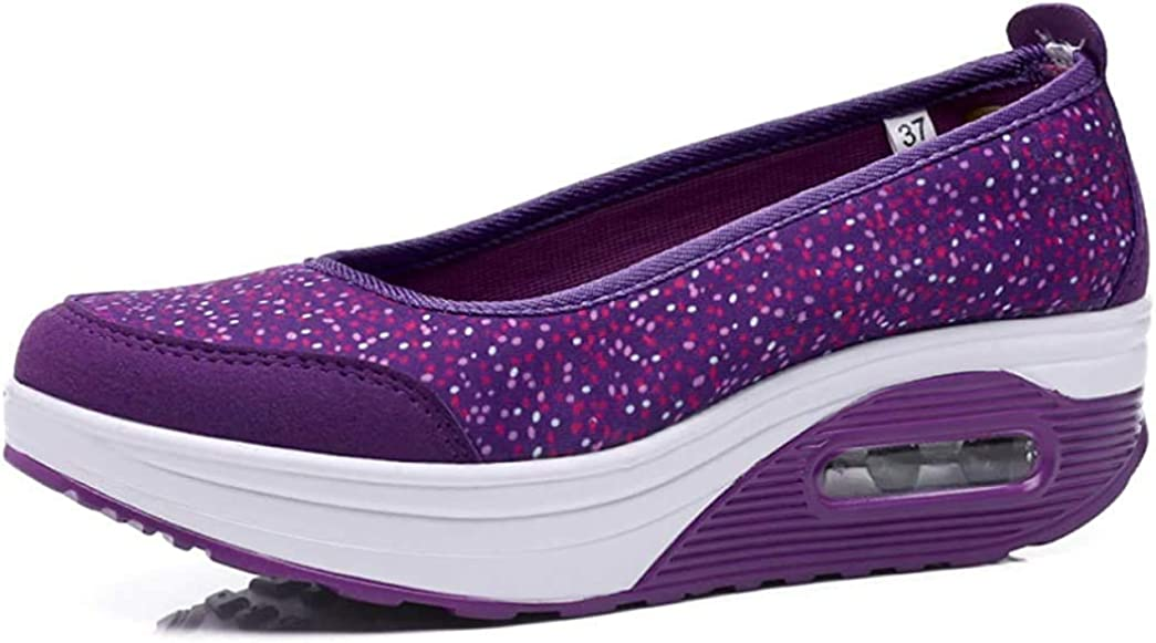 OOLG Womens Platform Wedge Walking Shoes Fashion Low Heels Slip-on Sneakers Outdoor Fitness Loafers