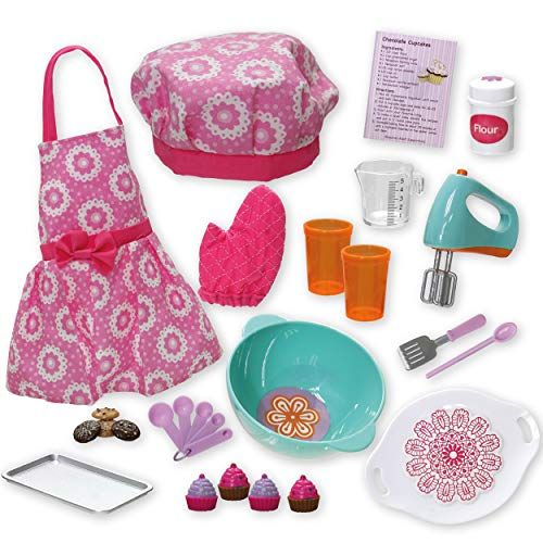 Beverly Hills Doll Baking Accessories Set 20 Piece Baking Set with Apron, Oven Mitt, Baking and Cooking Utensils Set, and Play Food, Fits 18 Inch American Girl Doll