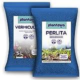 PLANTAWA Perlita y Vermiculita Pack 5L, Tierra para Plantas Sustrato para Plantar Semillas Huerto Urbano, Abono Natural Tierra para Jardín Exterior, Sustratos y Abonos