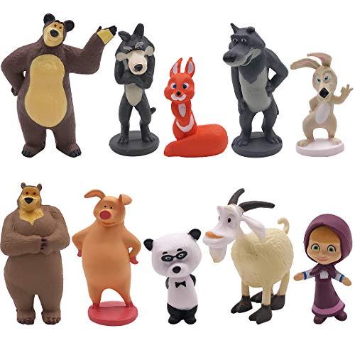 Cake Topper 10 Pcs Decoración de Tartas Figuras Decoración para Tarta de cumpleaños de Animales de Dibujos Animados del Fiesta Suministros