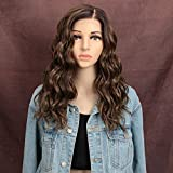 """REMY FORTE Lace Front Wig For Women Ombre Chocolate Color Heat Resistant Fiber Wigs Synthetic Natural Wave Hair Wig with Large Area""""L"""" Mono Lace 201Grams 18 Inches(NTPG4/10A/12D)"""