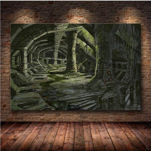 LGXINGLIyidian Skyrim The Elder Scrolls Spiel Poster Und Drucke Wandkunst Dekorative Bild Leinwand Malerei Für Wohnzimmer Home Decor Ungerahmt Ku109 40X50Cm