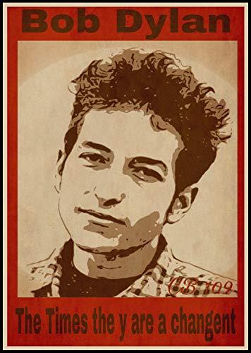 H/L Cantante De Música Bob Dylan Retro Art Canvas Poster HD DIY Pintura Al Óleo Moderna Sala De Estar Familiar Decoración Mural (Sin Marco) 50X60Cm 5408W
