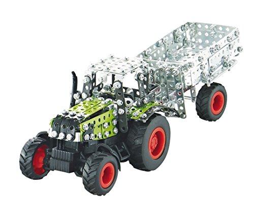 Tronico 09501 - Metallbaukasten Traktor Claas Axion 850 mit Kippanhänger und Fernsteuerung, Maßstab 1:64, Micro Serie, grün, 462 Teile*