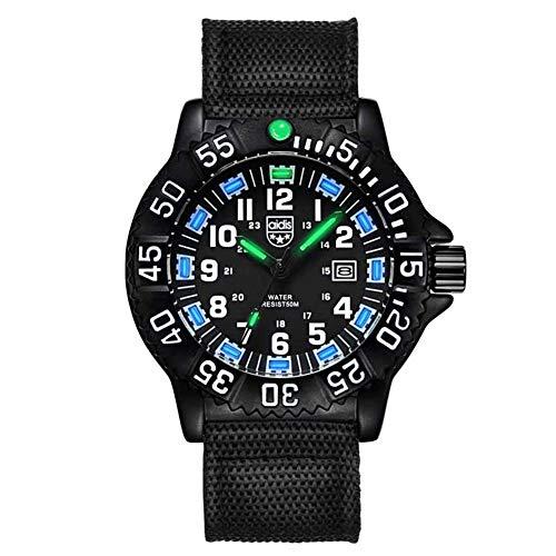 Wan&ya Reloj analógico de Cuarzo para Hombre Correa de Nailon 50M Cronómetro Luminoso Resistente al Agua Brújula Dial Giratorio Reloj de Negocios Relojes Deportivos Militares Digitales,Black b
