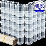 40 PCS 50ml/1.7oz Epoxy Mixing Cups, LEOBRO Plastic Graduated Cup Clear Multipurpose Measuring Cup for Resin, Epoxy, Paint, Come with 50 PCS Wood Craft Sticks